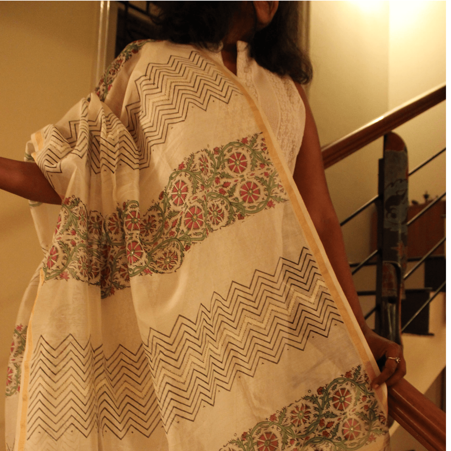 Printed White Chanderi Dupatta