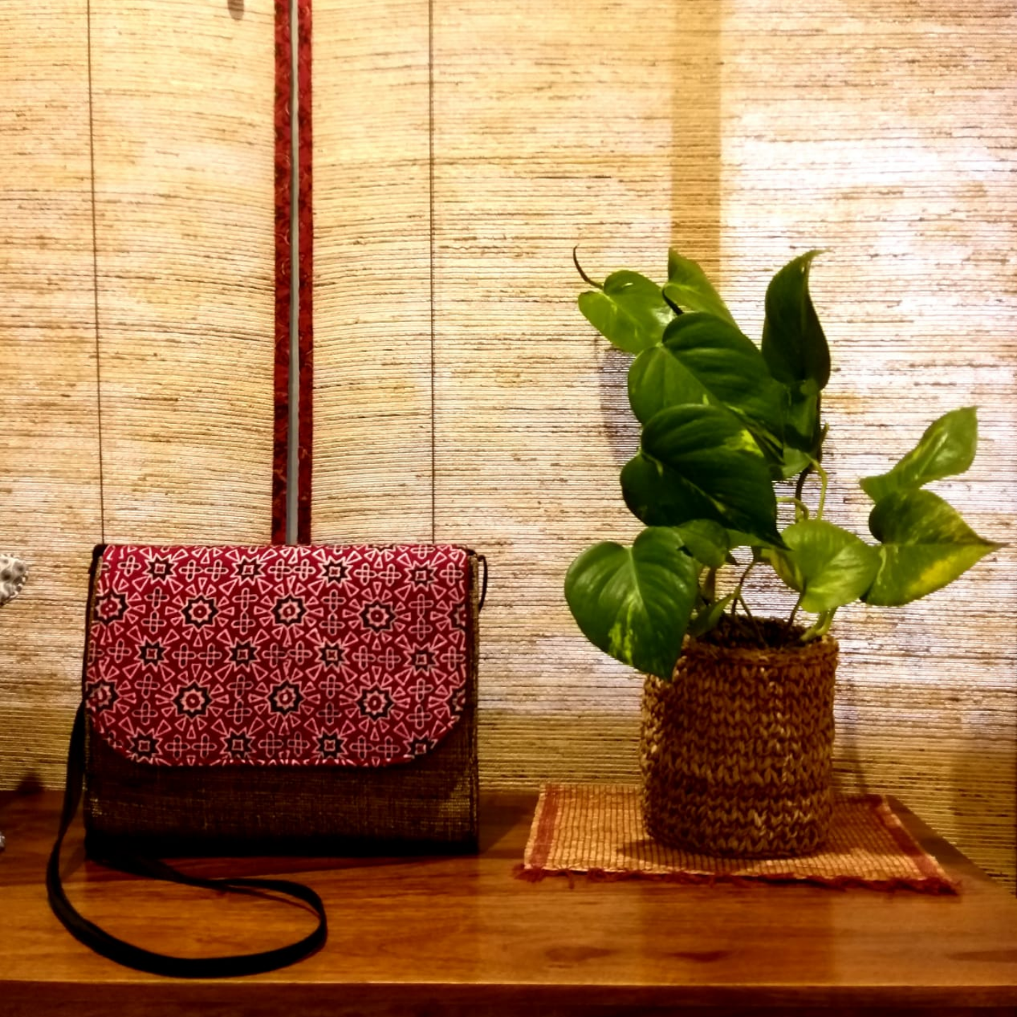 Walk the Talk in Red Sling Bag in Banana Fibre