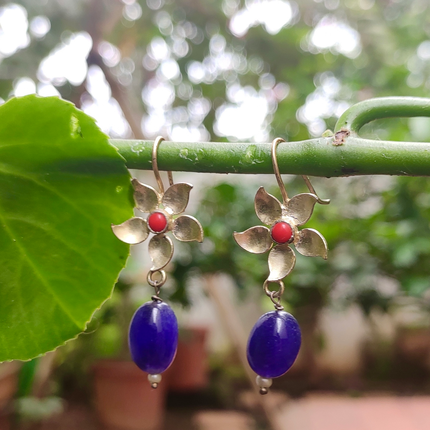 Red Coral & Blue Quartz Floral Earring