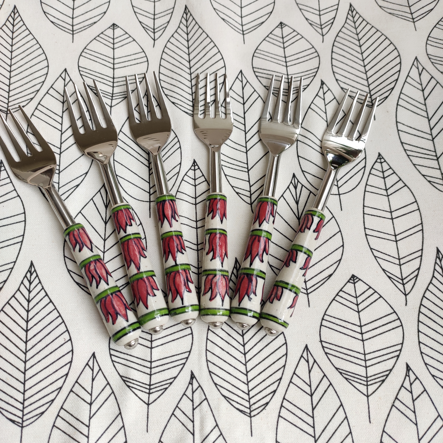 Ceramic Lotus Pink and Green Forks