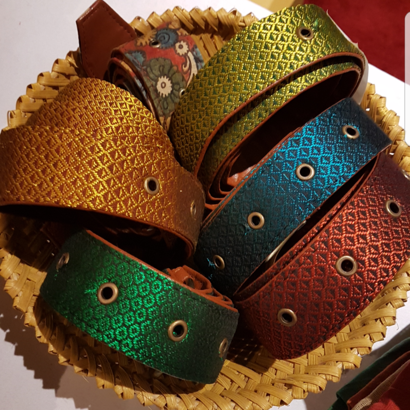 Jewel coloured Khun fabric belts