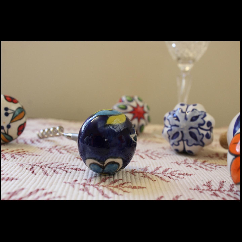 Ceramic Blue Corkscrew