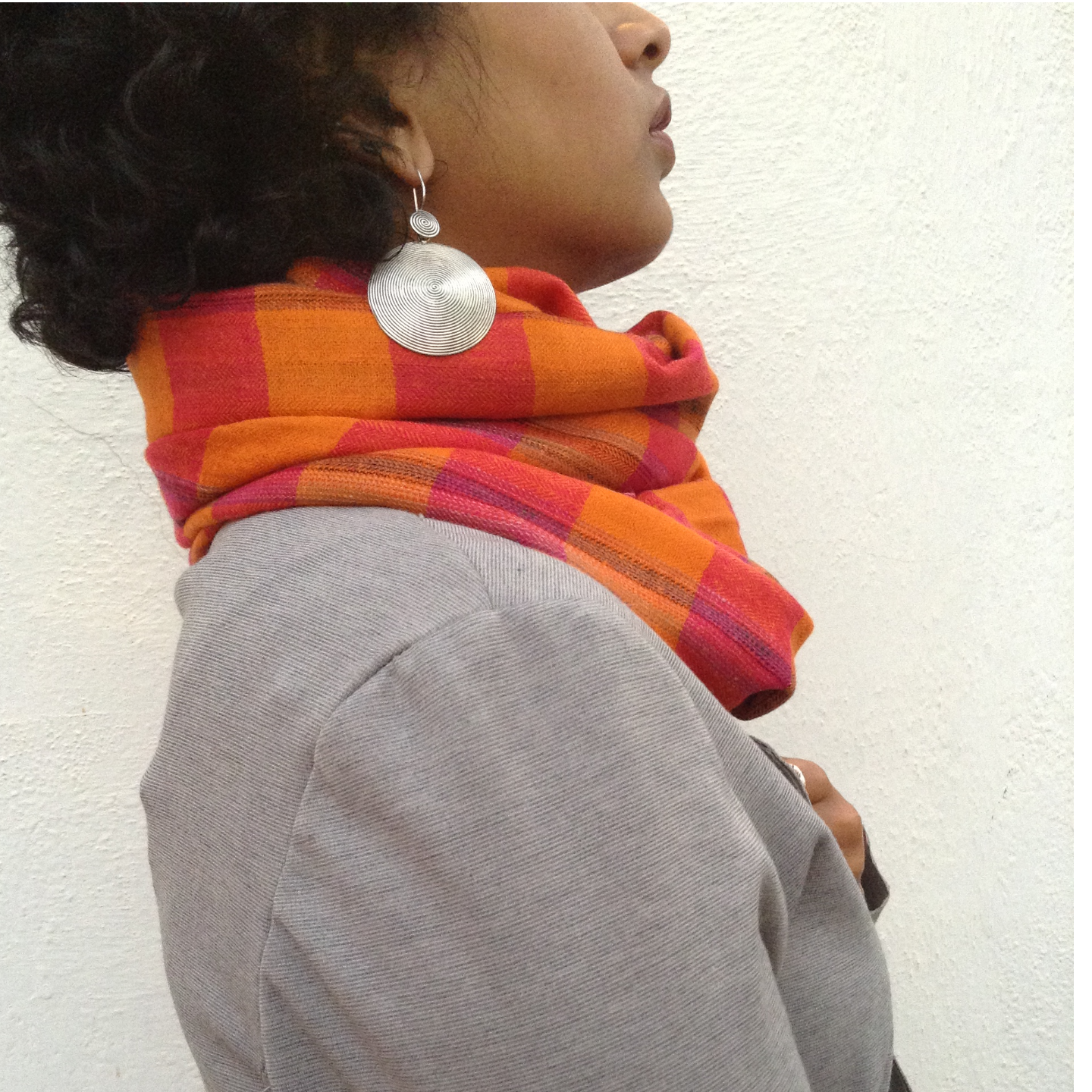 Pashmina - Orange Checked Scarf