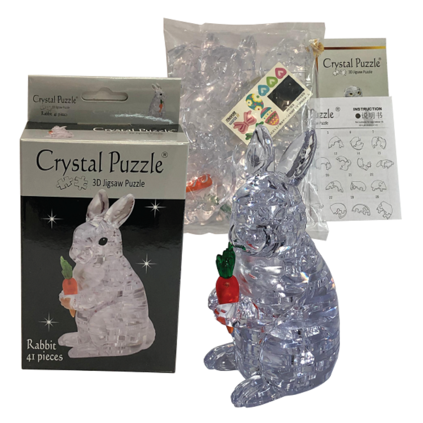 3D Crystal Puzzle Clear Rabbit