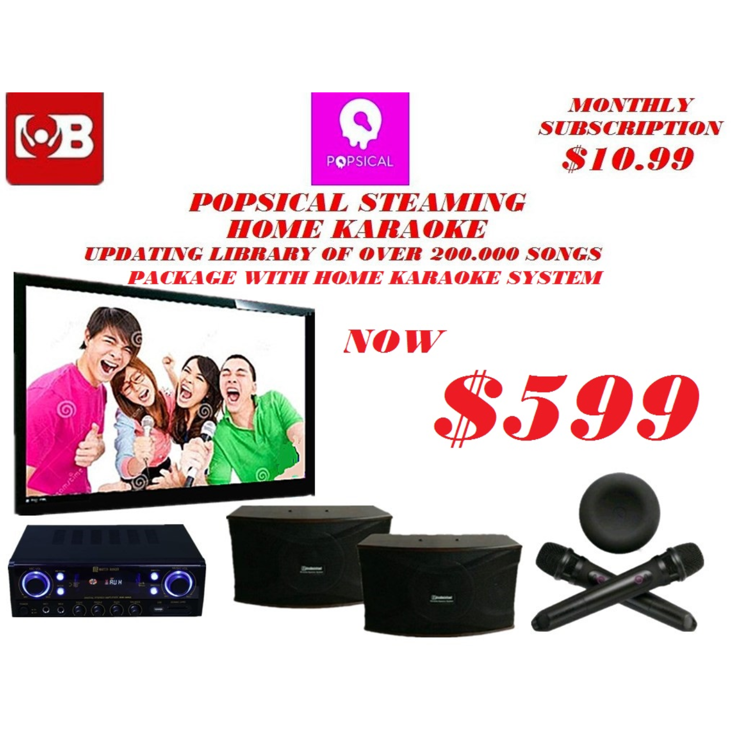 Popsical Home Karaoke Package Songs Cover with Home Copyright License