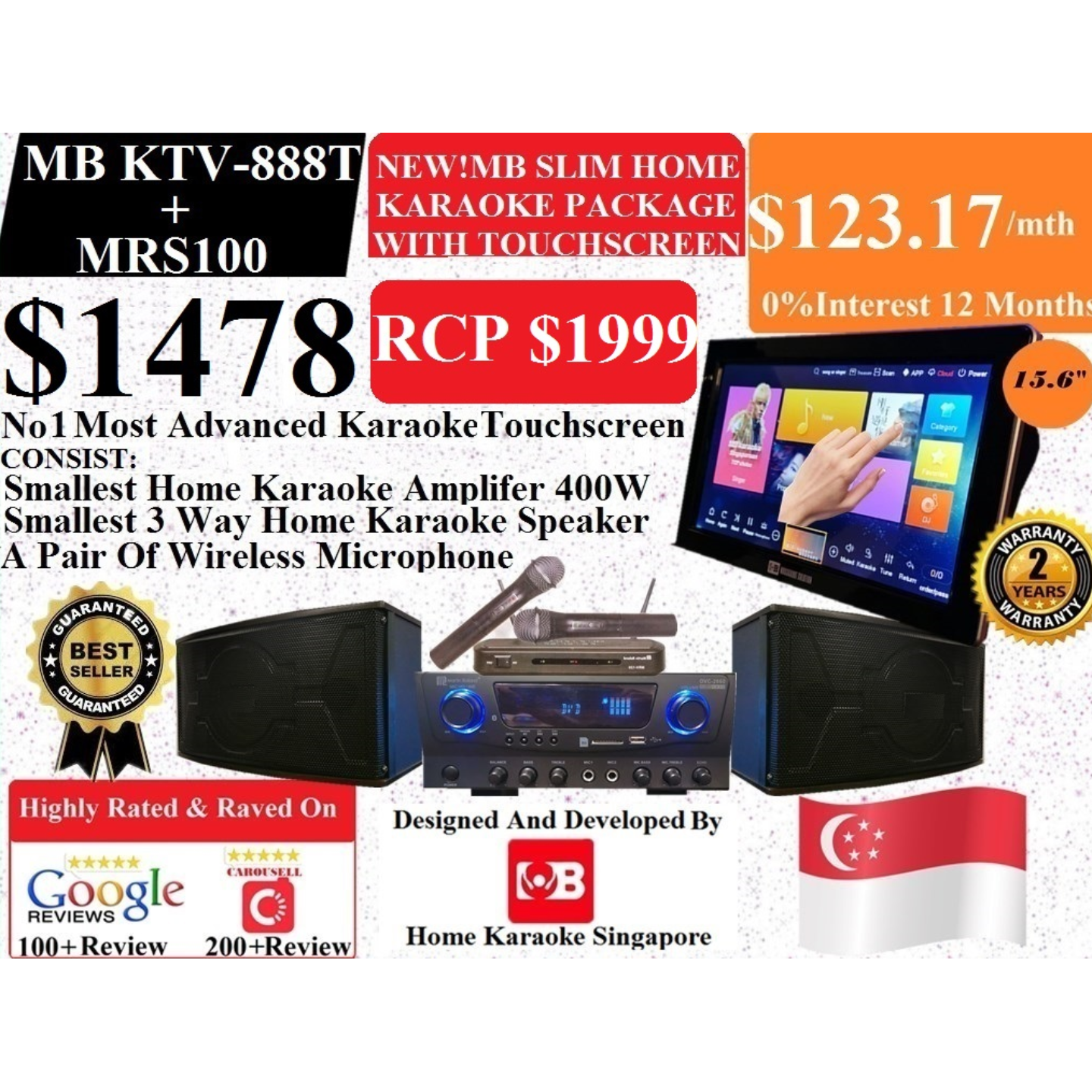 [SG] MB Karaoke MB KTV-888 Touchscreen + MRS100 Home Karaoke System Package Songs Cover With Copyright License