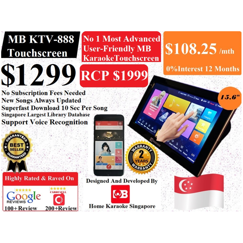 SG MB Karaoke KTV-888 Home Karaoke Touchscreen V2 System Songs Cover With Copyright License