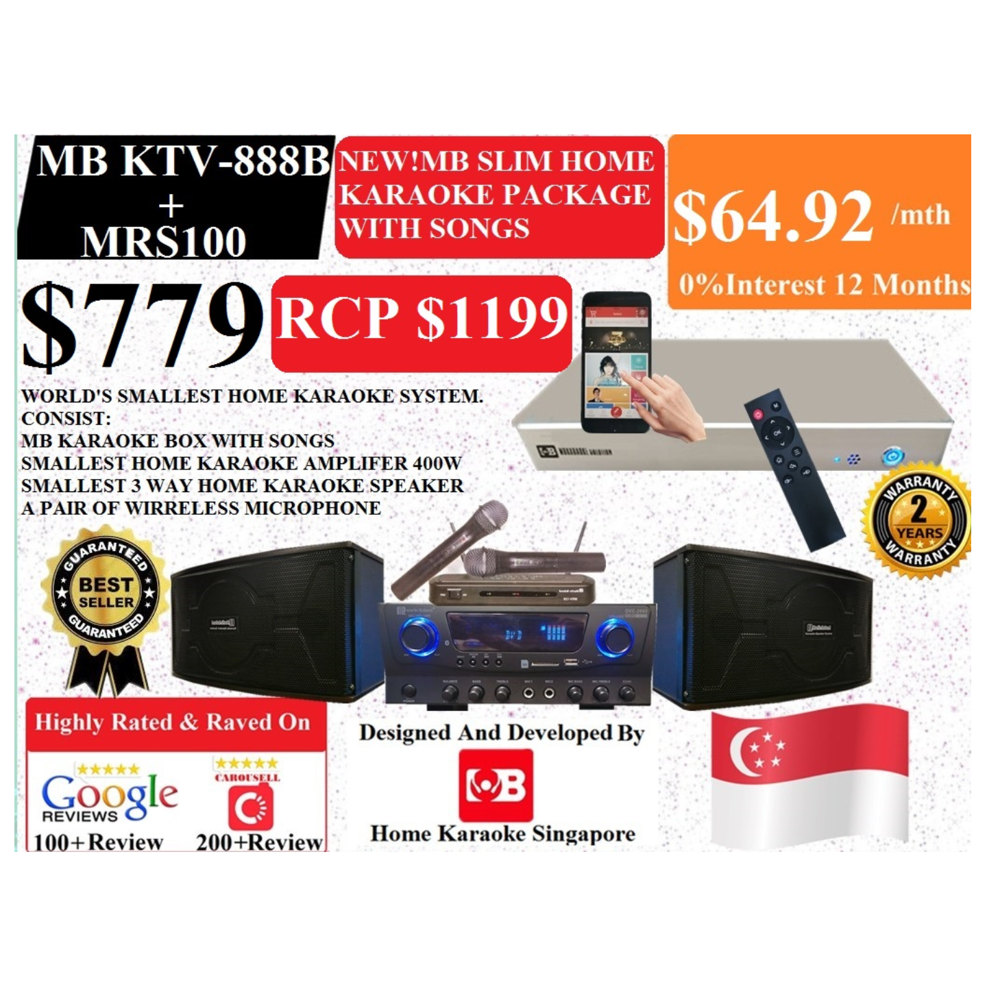 [SG] MB Karaoke MB KTV-888 Box  + MRS100 Home Karaoke System Package Songs Cover With Copyright License