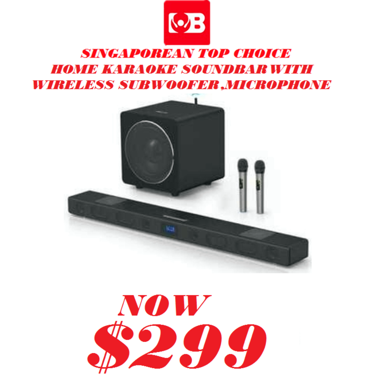 MB Home karaoke soundbar With Wireless Subwoofer