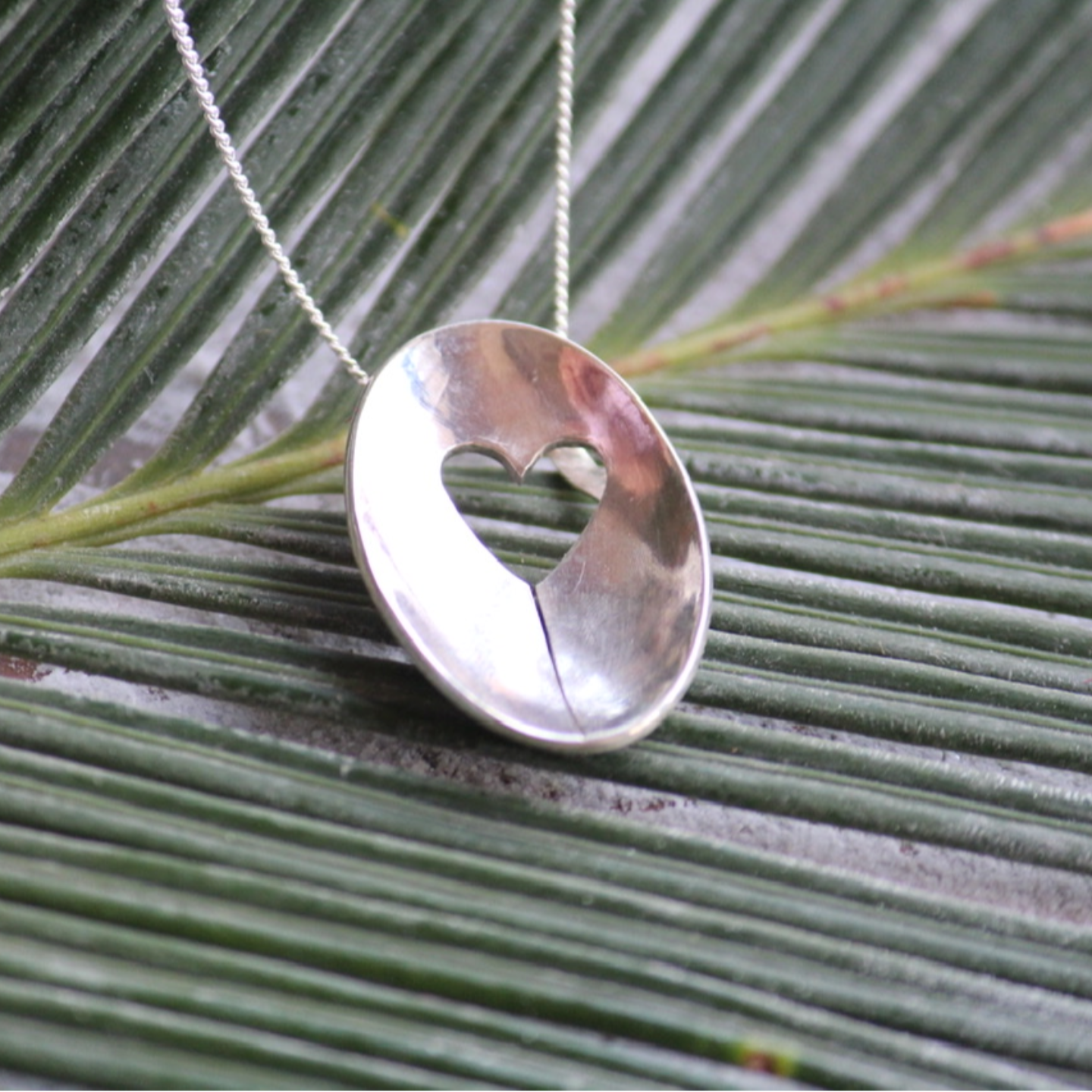 Handmade Silver One Heart Necklace