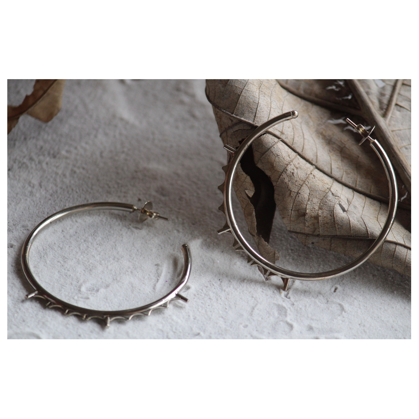 Silver Oversized Raw Hoops