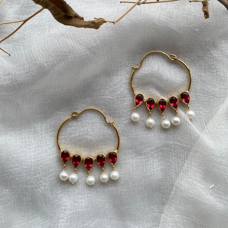 Nazaakat Earrings (Rubies)