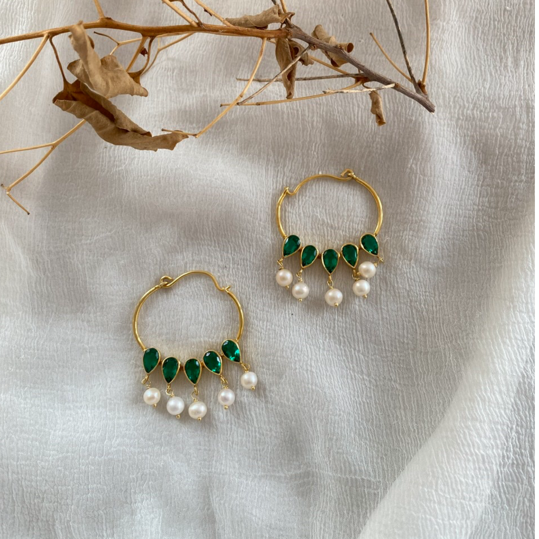 Nazaakat Earrings Emeralds