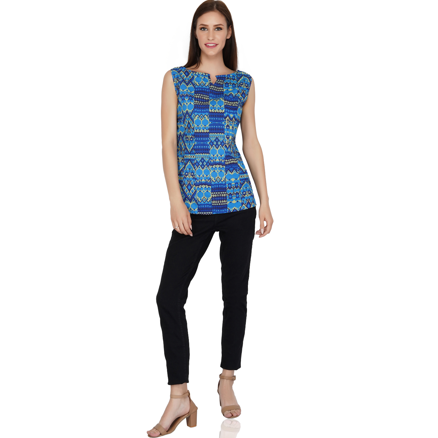 Cotton Abstract Print Blue Top