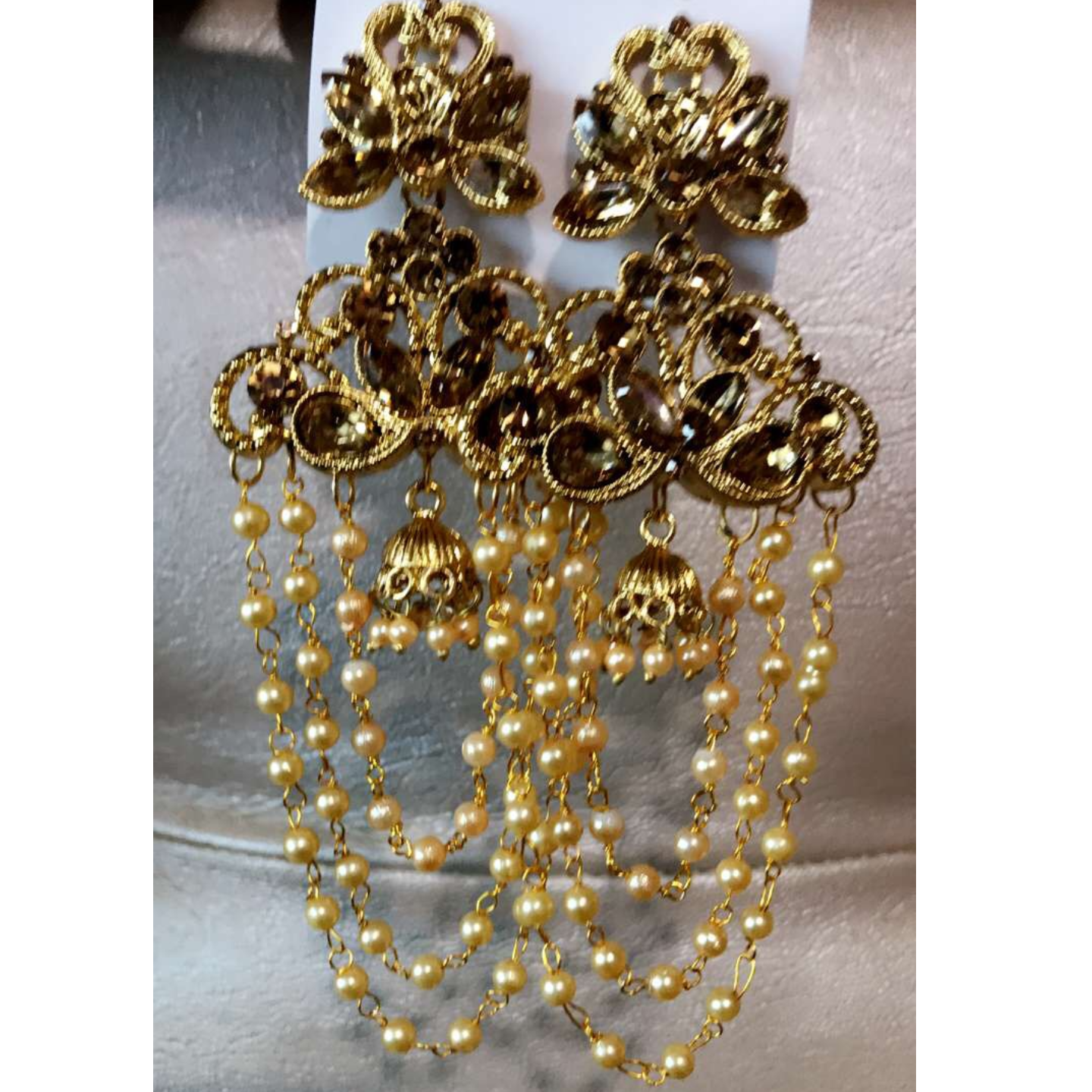 Devsena Three Layered Pearl Chain's Dangled Earrings !!