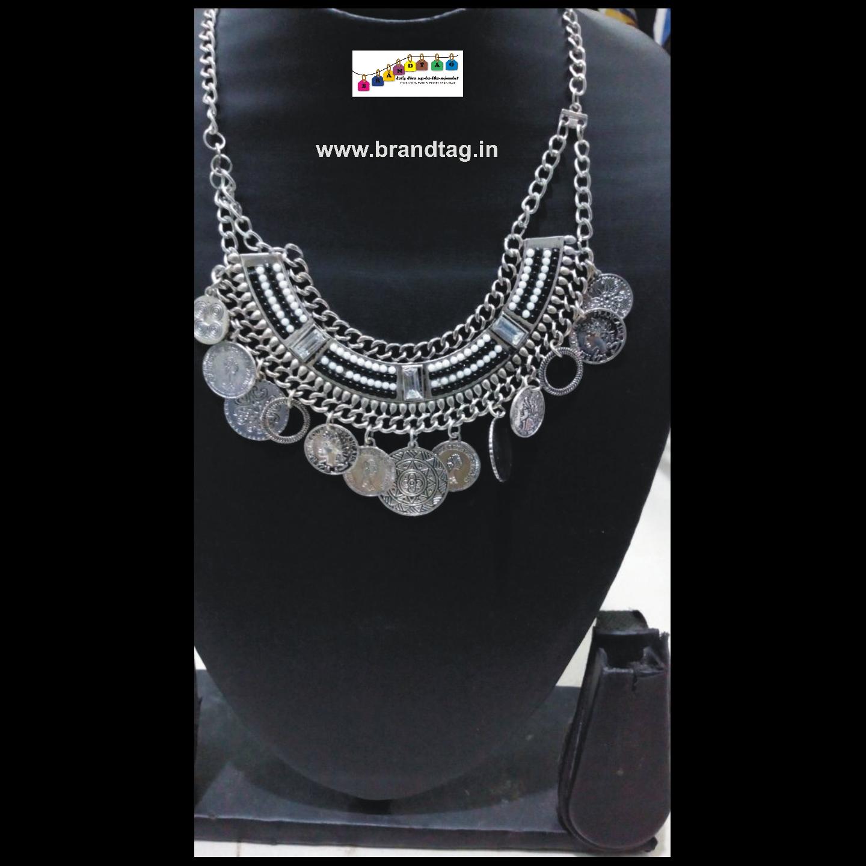 Contemporary Silver Oxidized Necklace