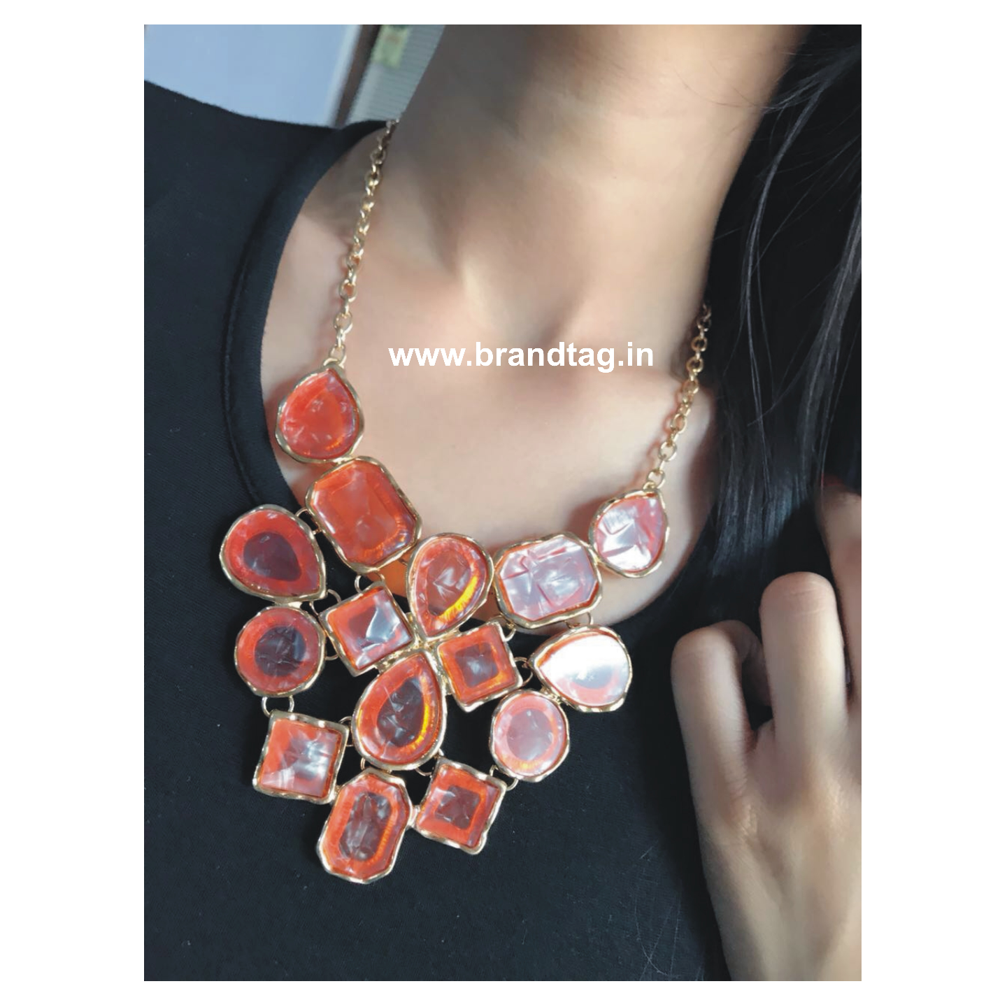 Eye-pleasing, Beautifully Designed Orange Necklace !