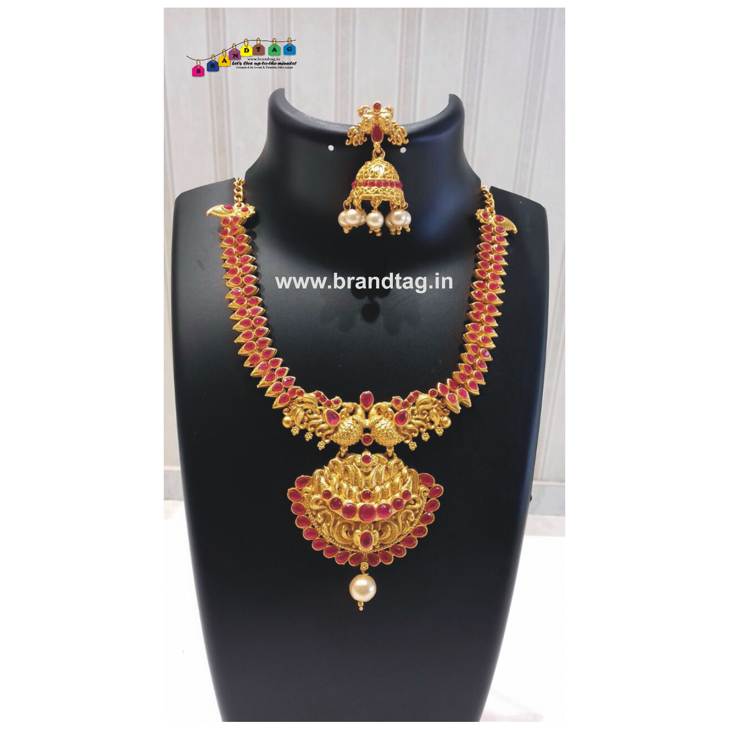 Diwali Collection - Pink Stones studded Golden Necklace Set!