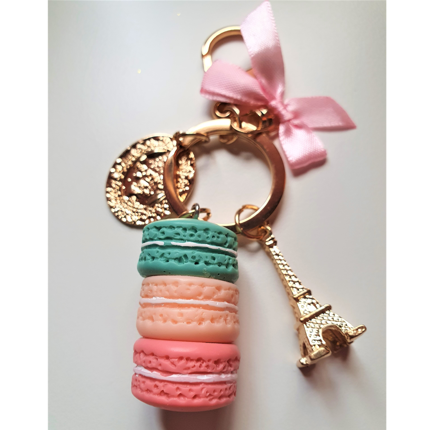 Set of Charm Bracelet with Teddy Bear design & Macaron Bag Charm and Key Chain