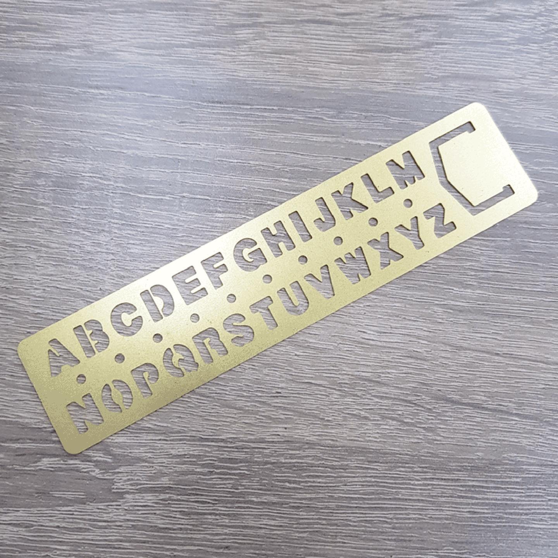 Brass Alphabet Template & Bookmark