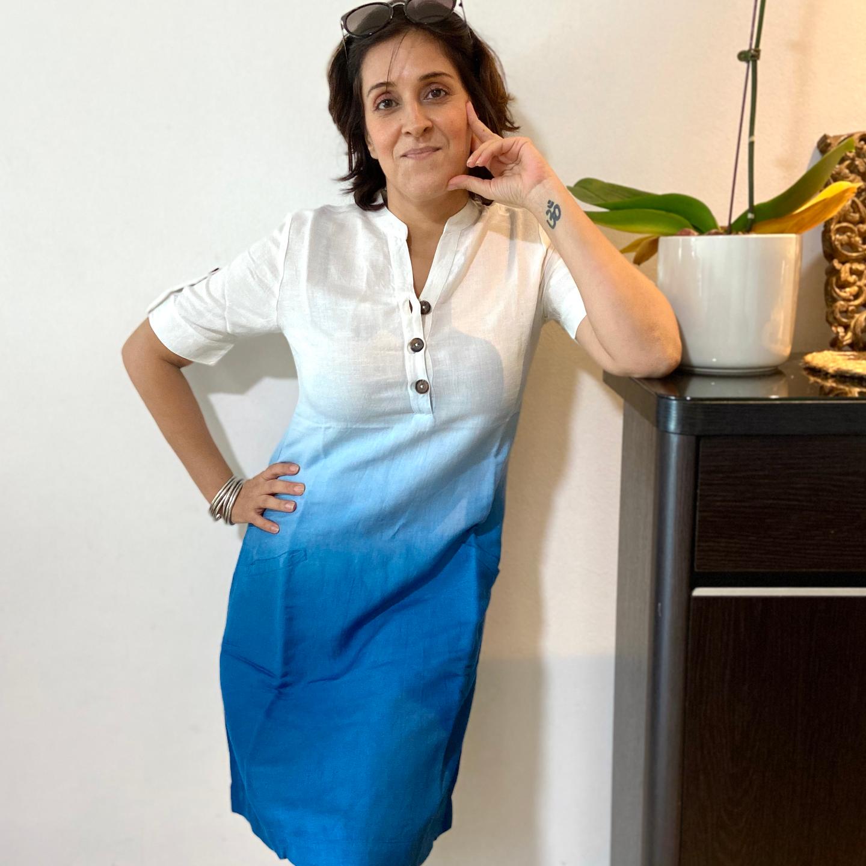 Blue Dip-Dyed Linen dress