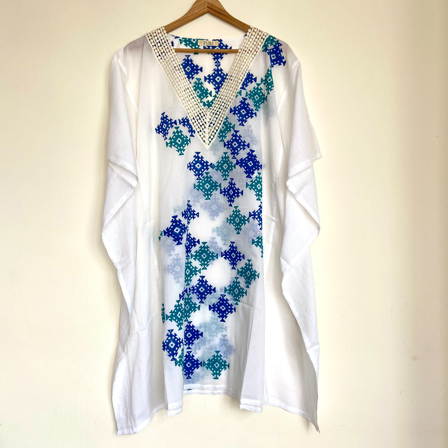 Blue Green Lace Kaftan