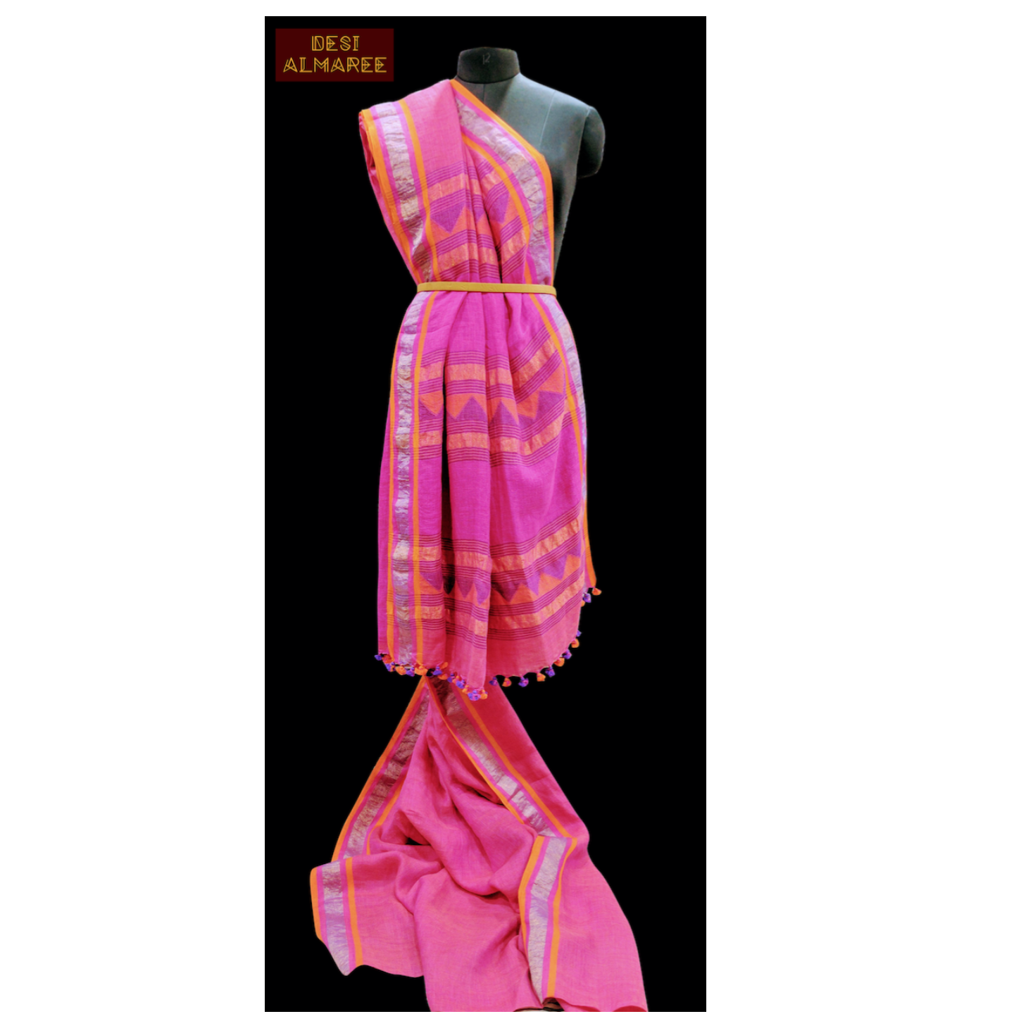 Fuscia Linen saree with Jamdani weaved pallu