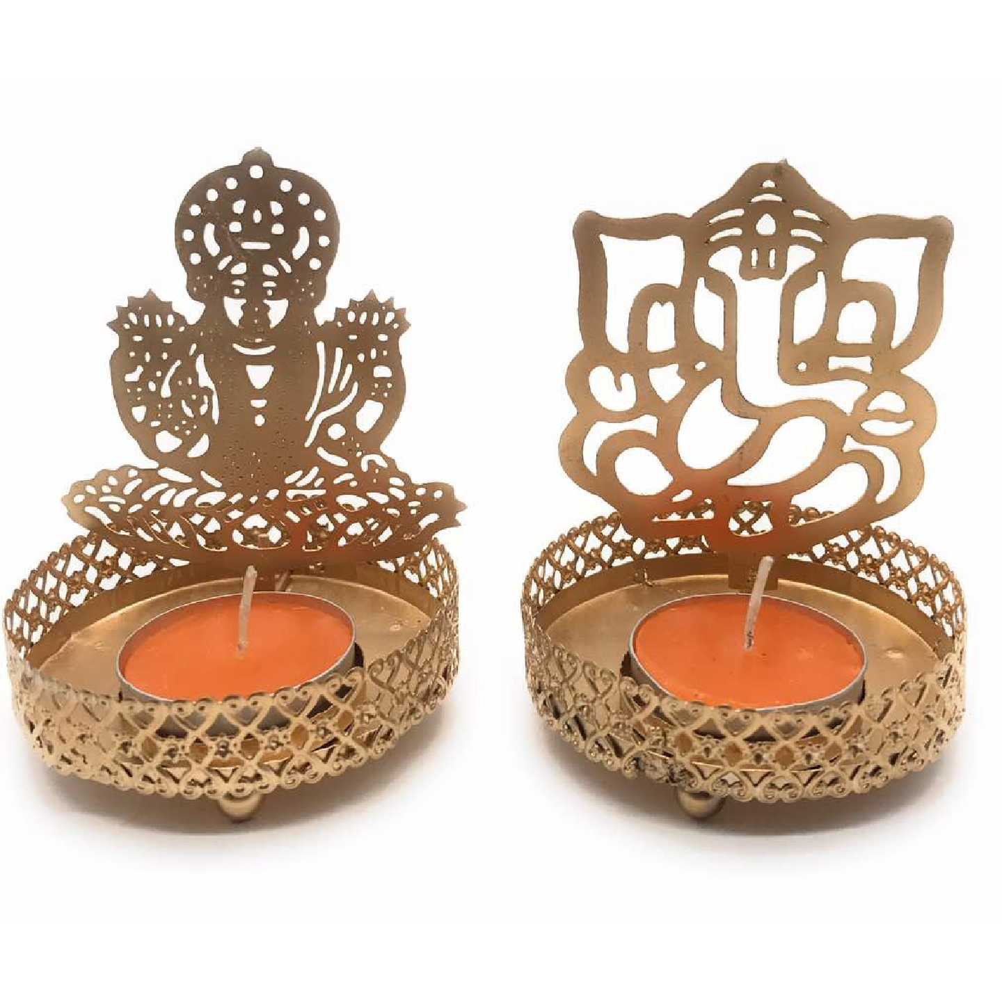 AuraDecor Divine Ganesha & Laxmi Shadow Tealight Holder