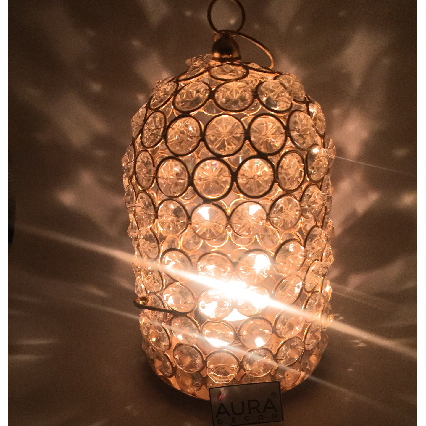 AuraDecor Crystal Finish Cage Tealight Holder with a Tealight