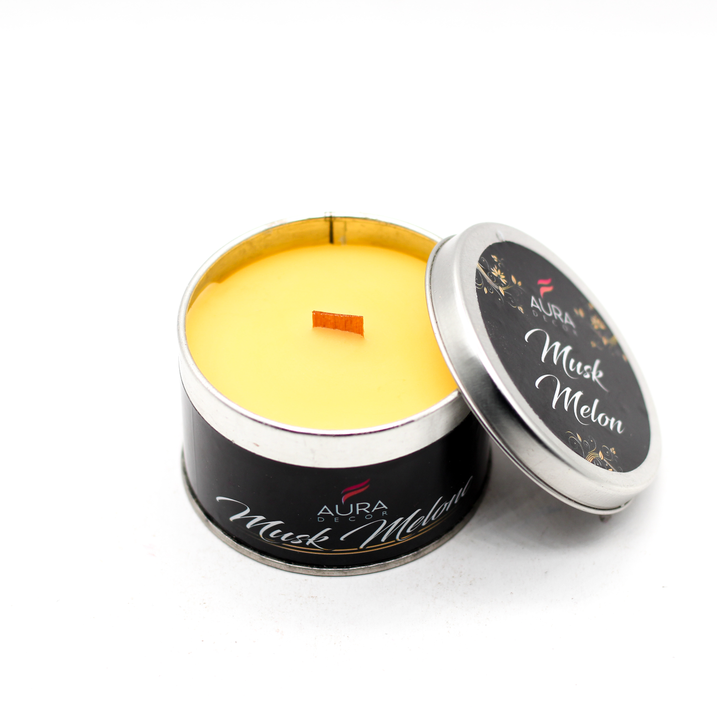 AuraDecor Wood Wick TIn Candle ( Gift Box )
