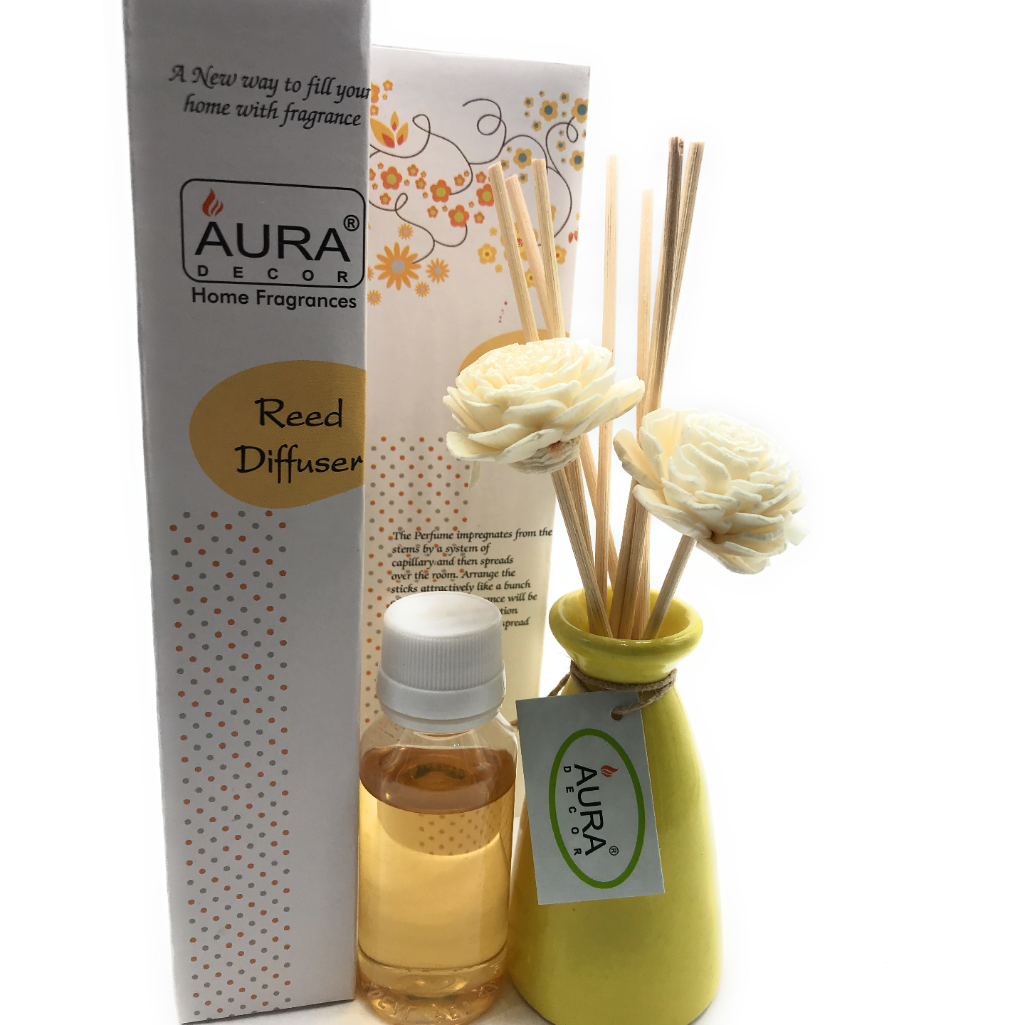 AuraDecor Reed Diffuser Gift pack with Diffuser Pot & 10 Reed Sticks & 2 Flower Reeds 50ml Reed Oil ( Citrus )
