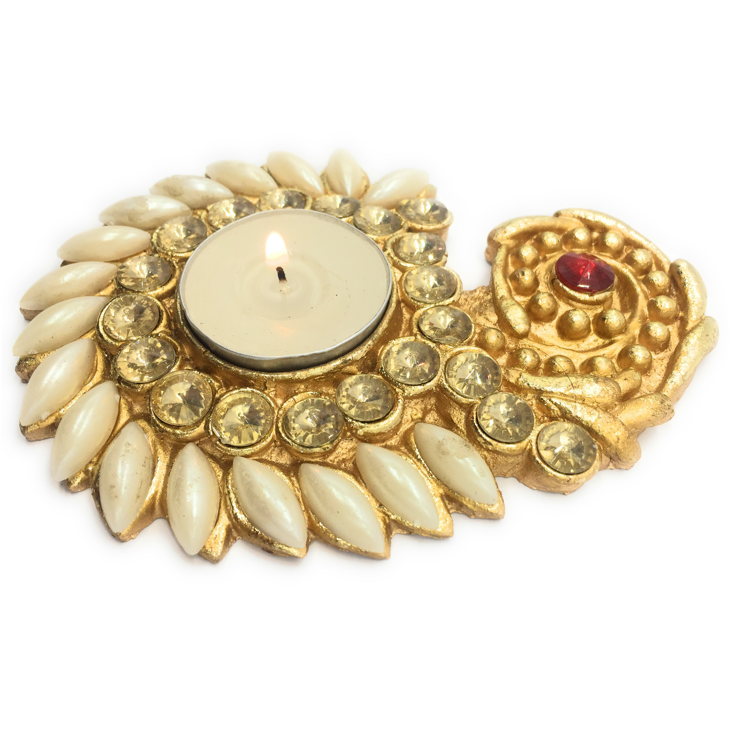 AuraDecor Bead Finish Tealight Holder with a Tealight Free