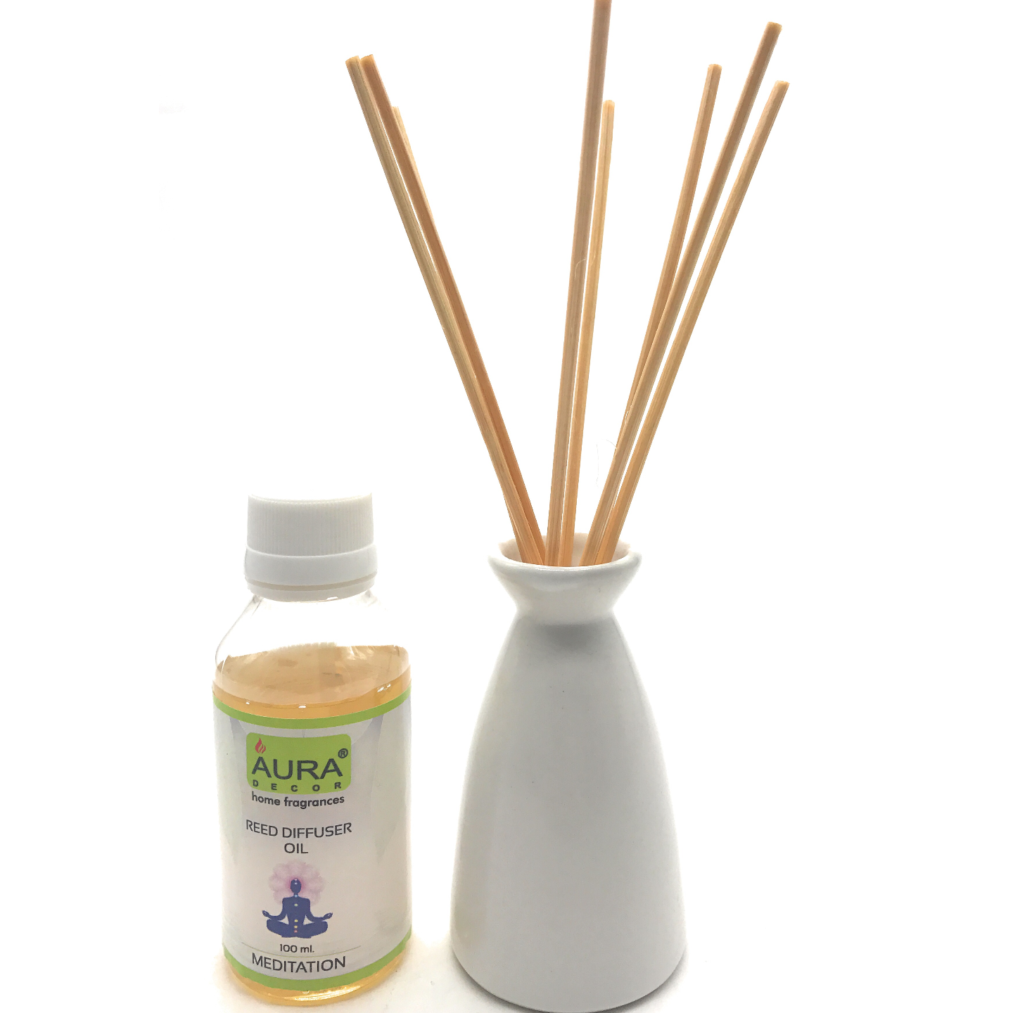 AuraDecor Reed Difffuser with a Diffuser Pot Assorted Colours & 100ml Reed Oil with 8 Reed Sticks