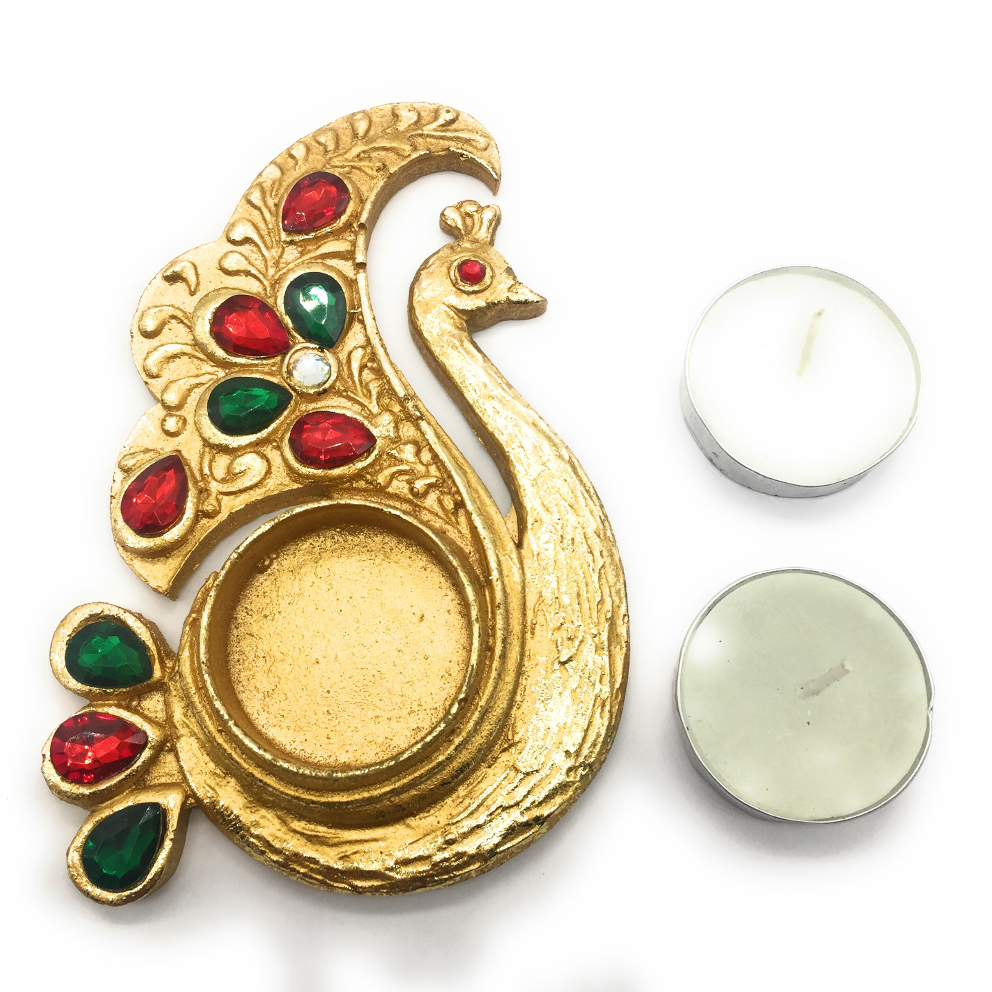 AuraDecor Ethnic Peacock shape Tealight Holder with 2 Tealight Free
