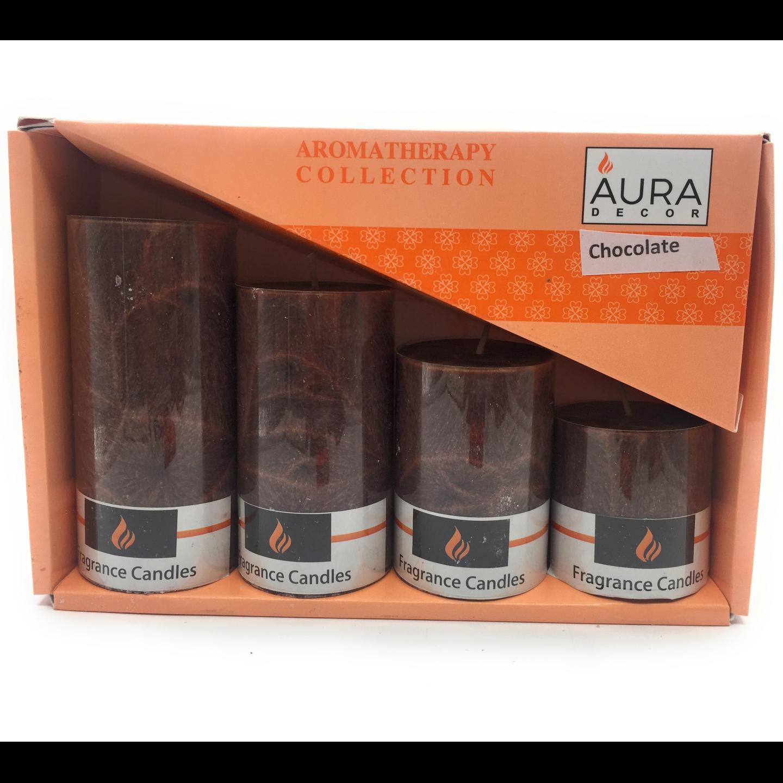AuraDecor Set of 4 Pillar Candles (Marble Finish) ( 2*2, 2*3, 2*4, 2*4.5)
