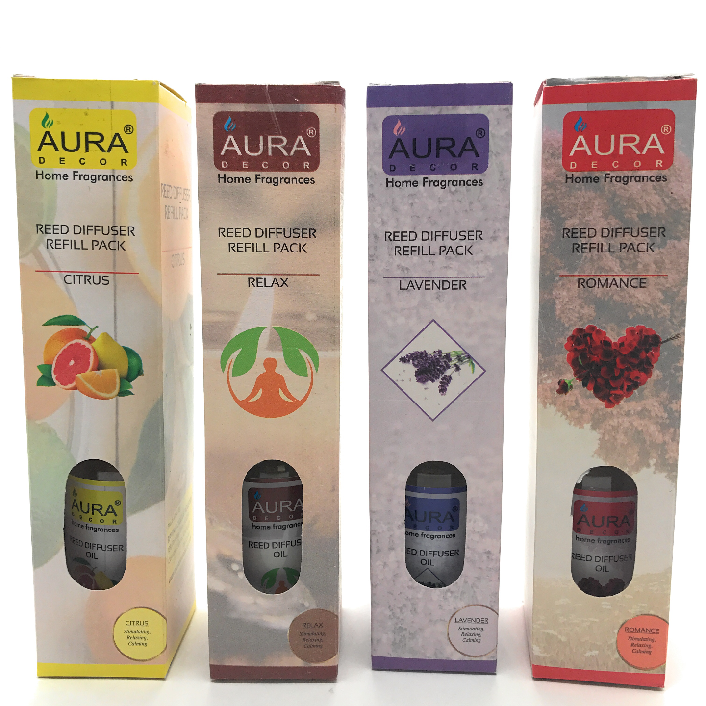AuraDecor Reed Refill Pack 100ml each with 8 new Reed Sticks Set of 4  Citrus, Relax, Lavender, Romance