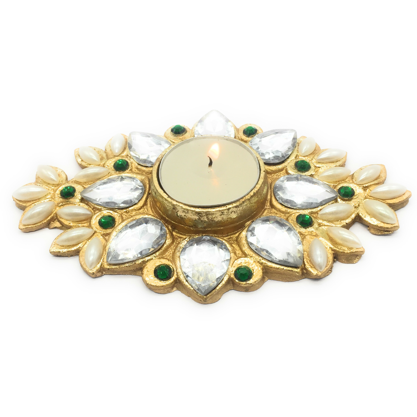 AuraDecor Ethnic Finish Tealight Holder with a Tealight Free