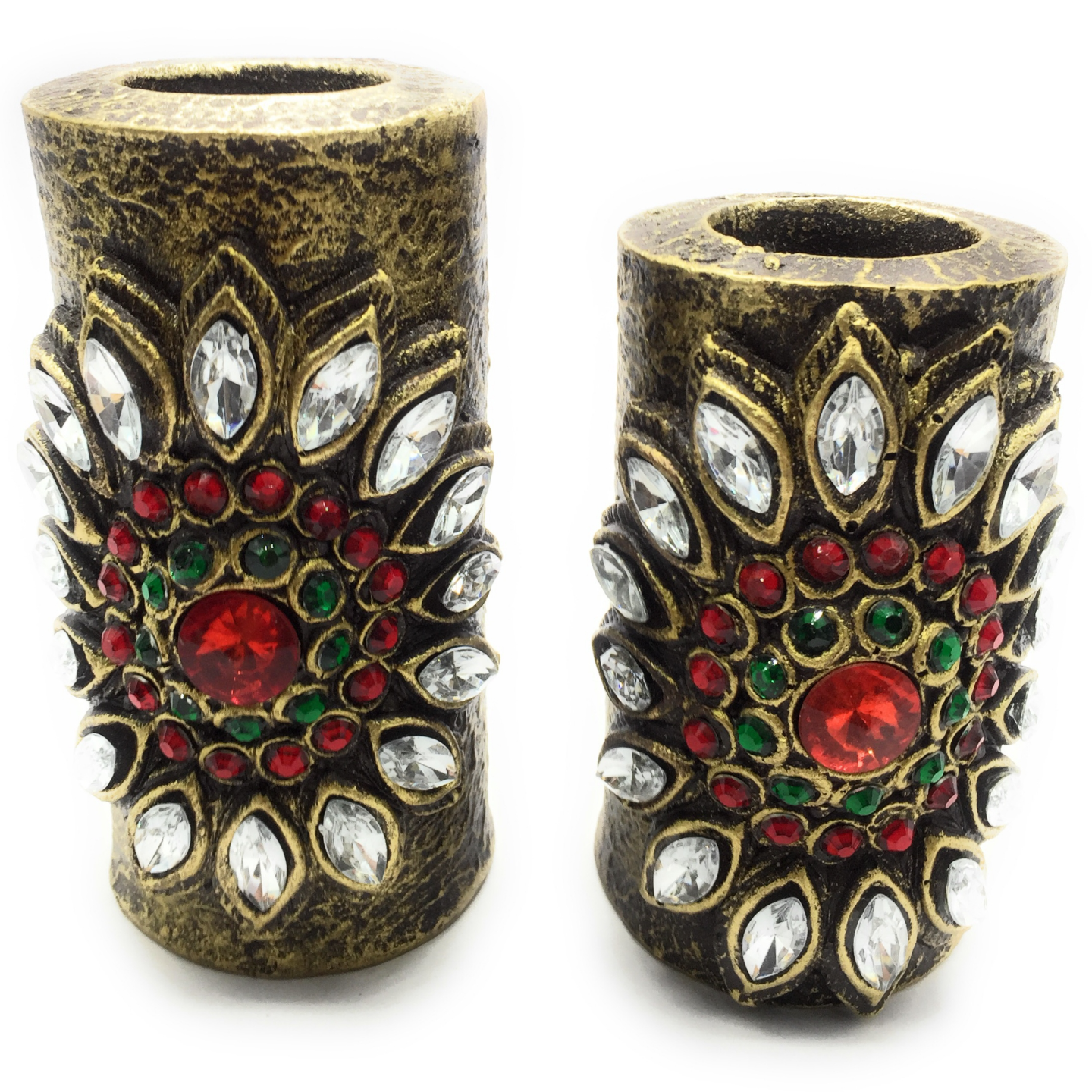 AuraDecor Set of 2 Ethnic Finish Tealight Holder with 2 Tealights Free