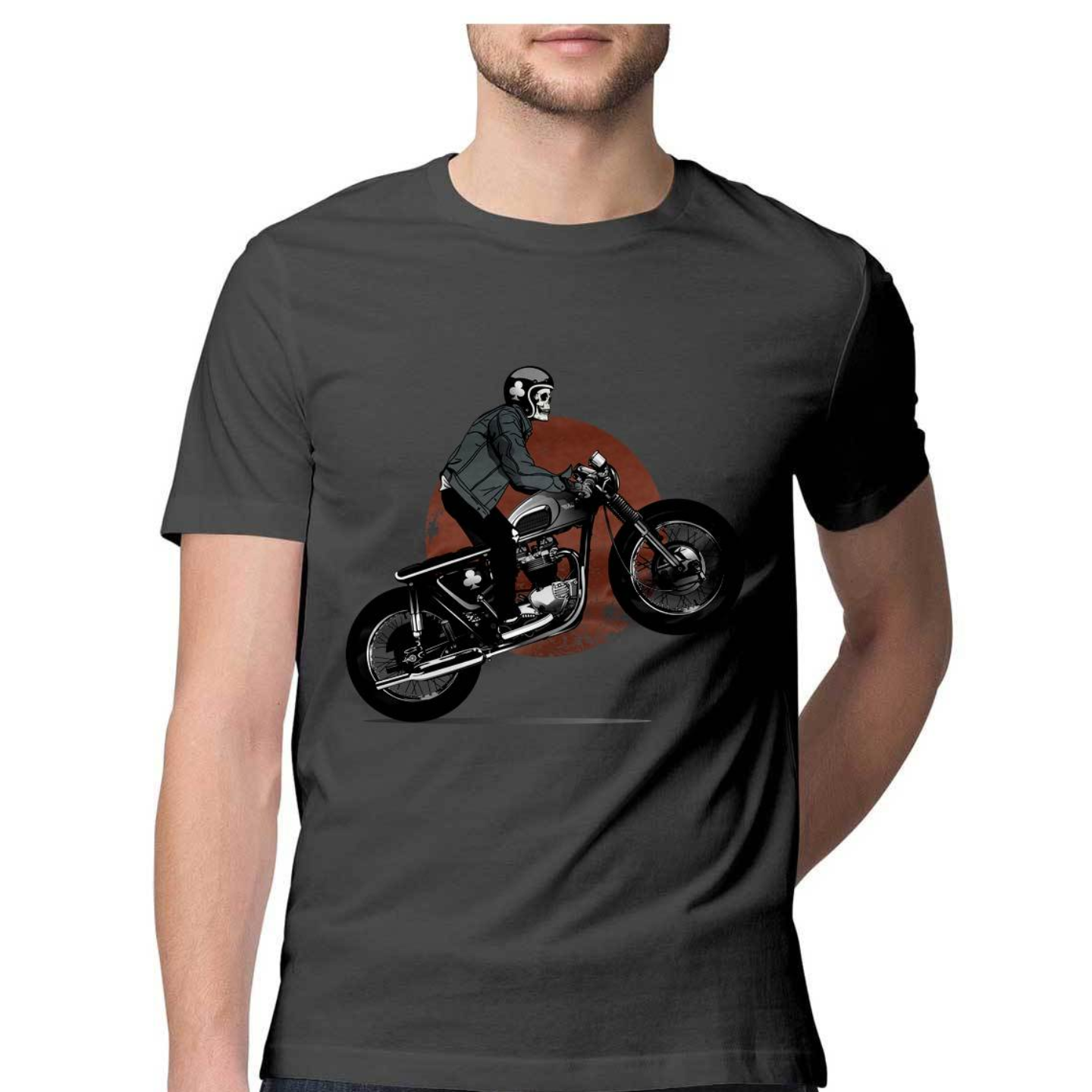 Skeleton Riding Bike Round Neck Tshirt