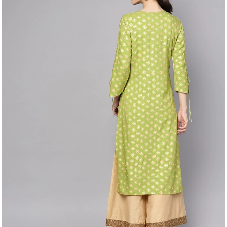 Women Rayon Printed A Line Kurti Green