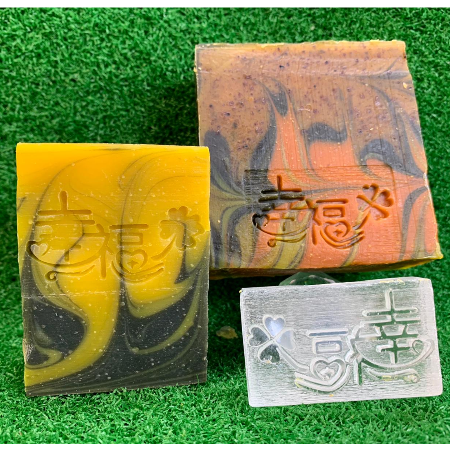 幸福 Blessings Clover Acrylic Soap Stamp