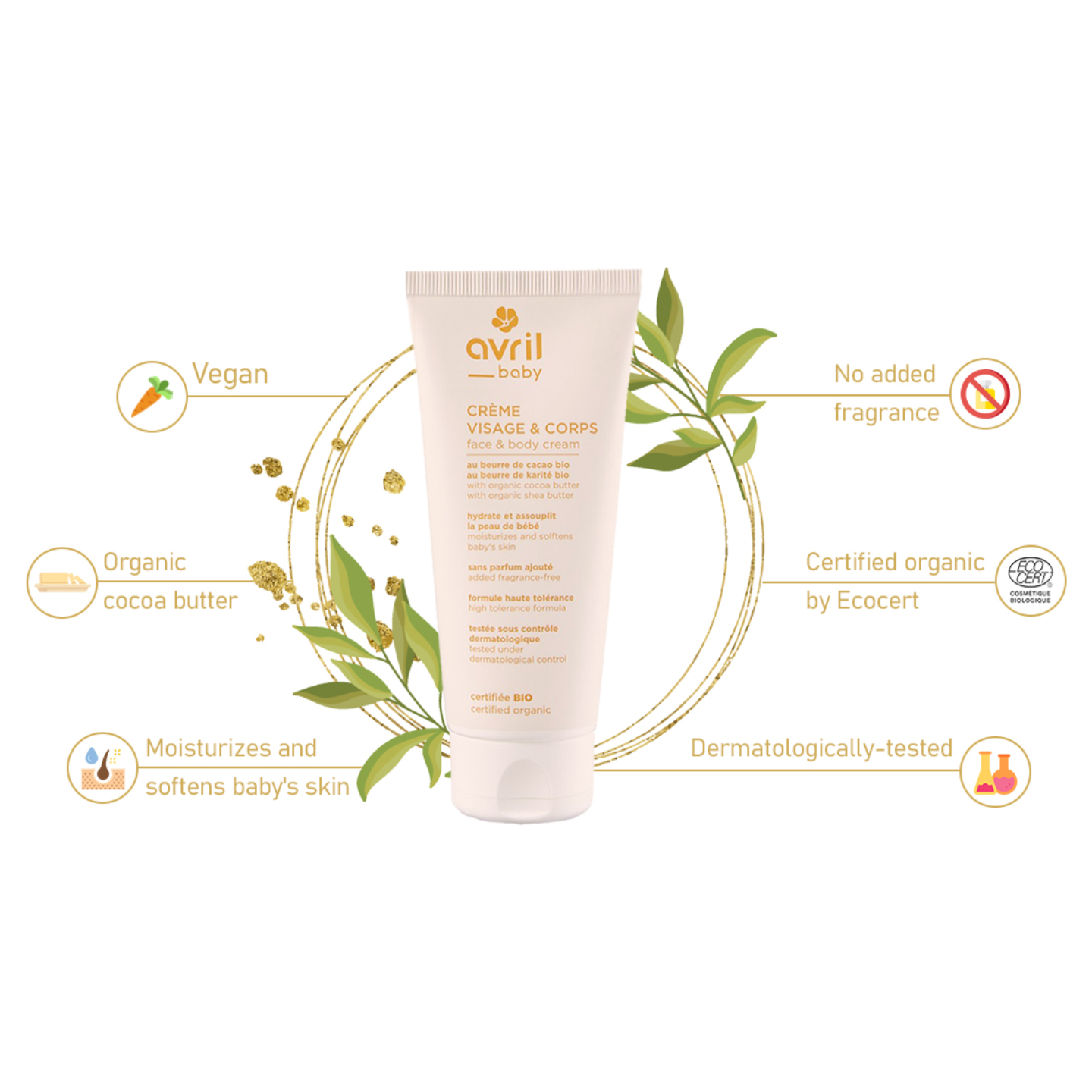 Avril Baby Organic Face & Body Cream - 100ml