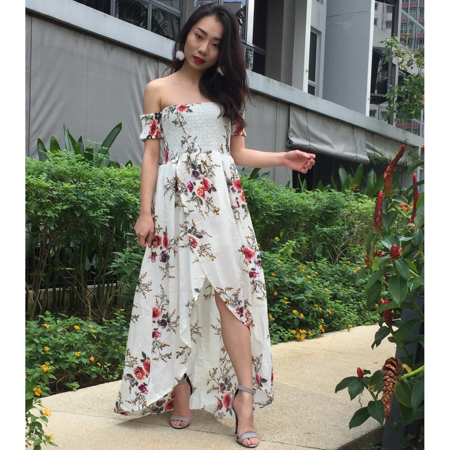 Floral Off Shoulder Maxi Dress (White)