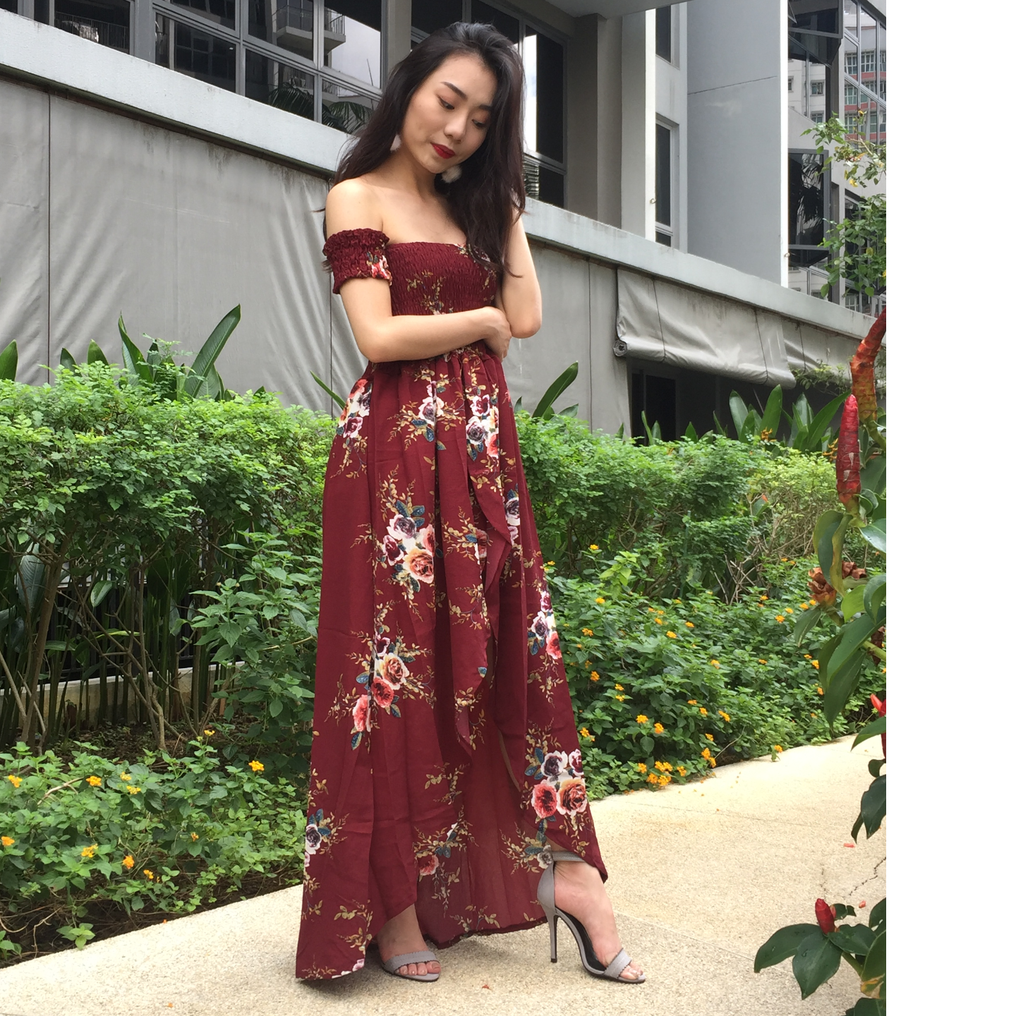 Floral Off Shoulder Maxi Dress (Maroon)