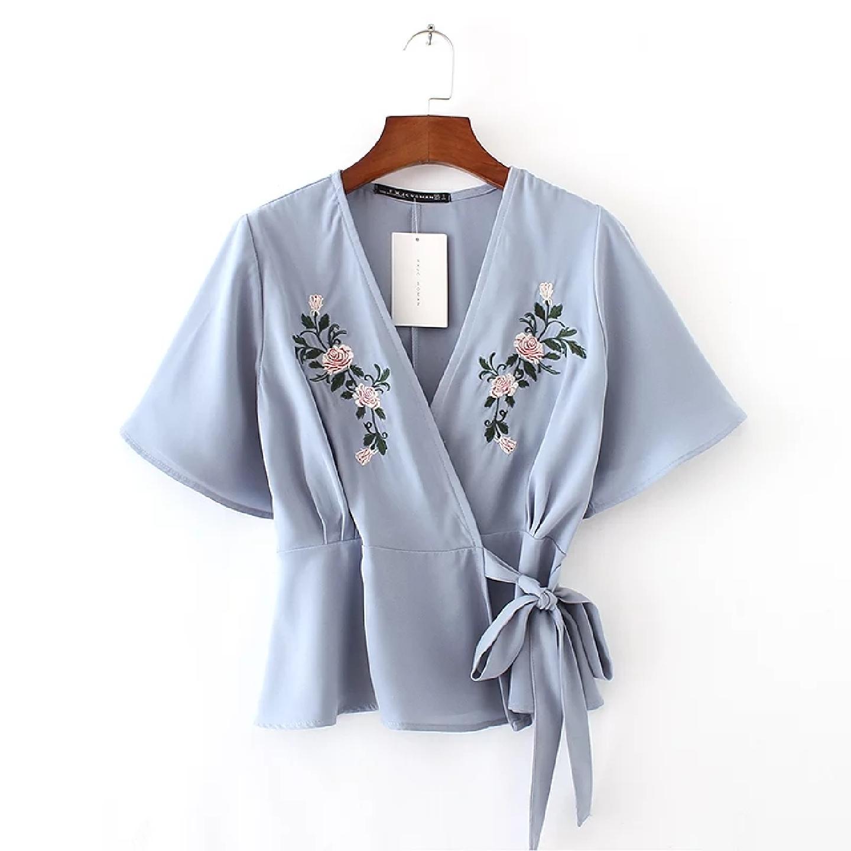 Floral Embroidery Kimono Blouse