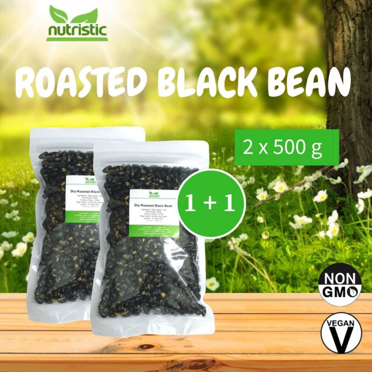 Dry-Roasted Black Beans [500g] x2 - Value Bundle 1+1