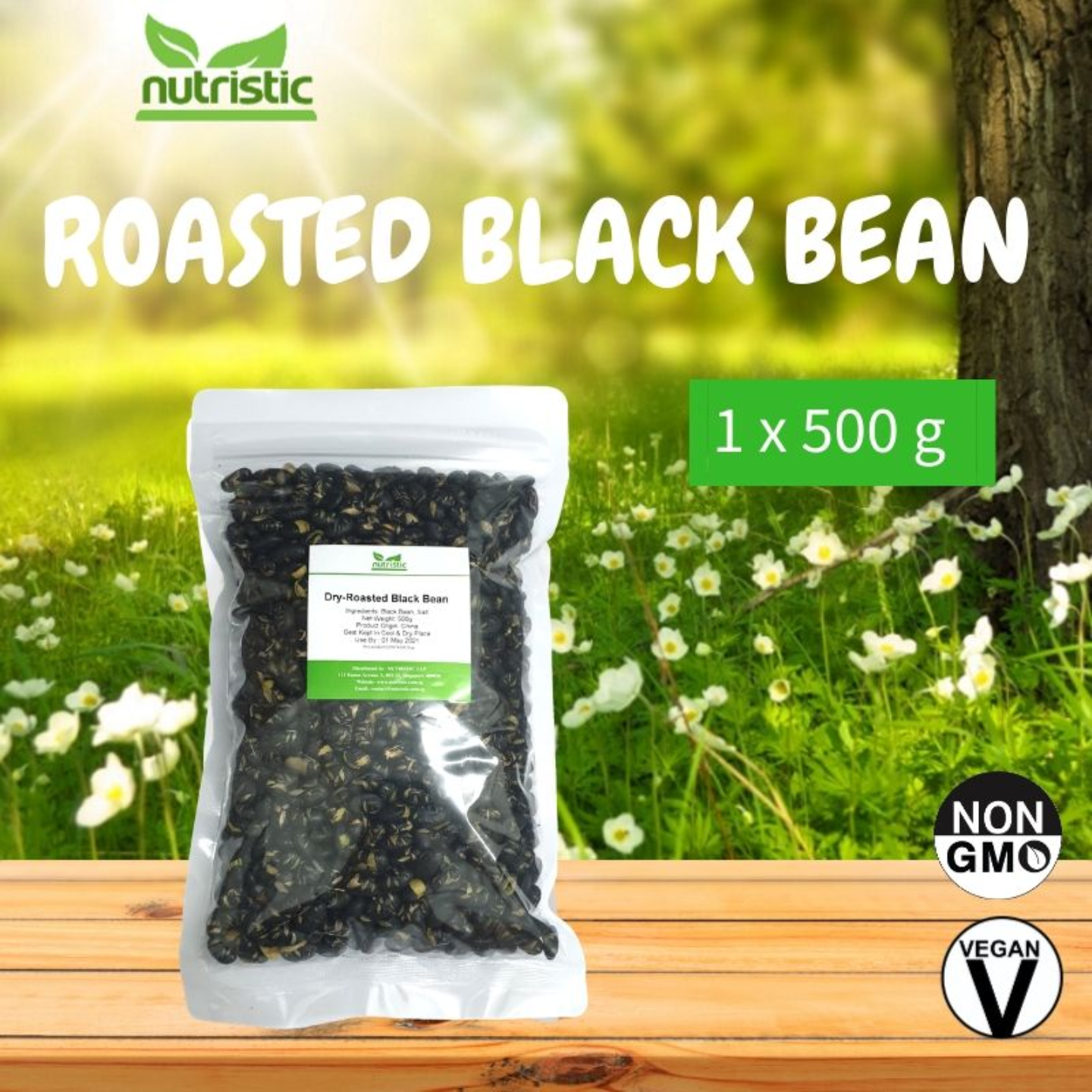 Dry-Roasted Black Beans [500g] - Value Pack