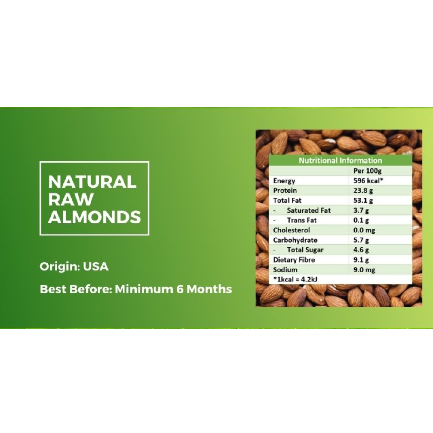 Natural Raw Almond [500g] - Value Pack