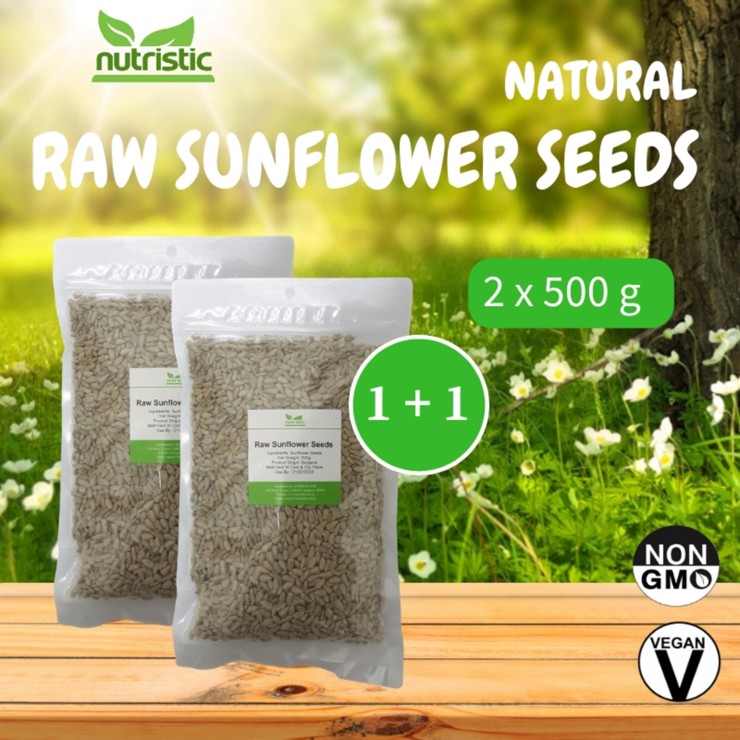 Natural Raw Sunflower Seeds 500g x2 - Value Bundle 1+1