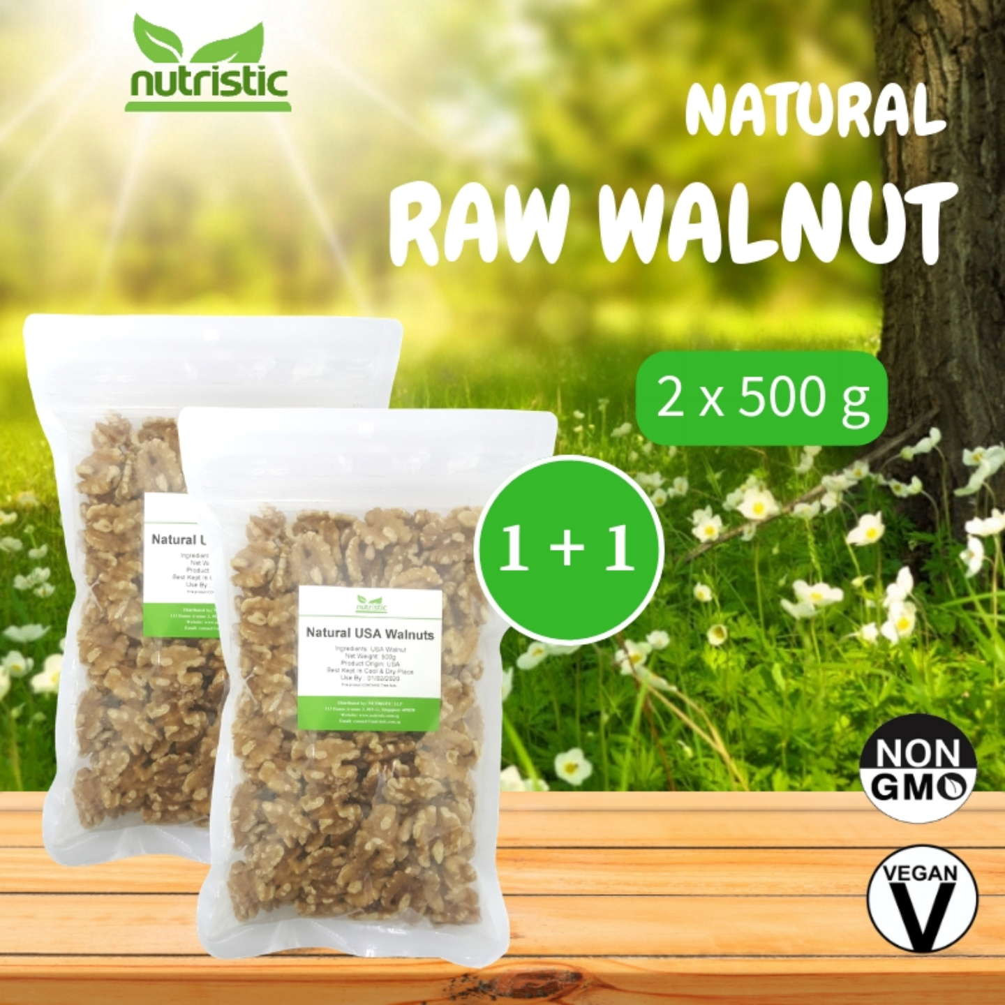 Natural Raw Walnut 500g x2 - Value Bundle 1+1